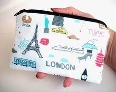 Travel Time Little Zipper pouch coin purse Gadget by JPATPURSES, $8.00
