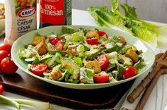 A few simple add-ins transform a green salad into our Bacon and Avocado Caesar Salad.  Tomatoes, avocado and bacon bits are served on a bed of crisp romaine lettuce with Caesar dressing and Parmesan cheese for a tasty take on the classic Caesar salad.