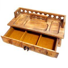 Vintage Wood Desk Organizer Jewelry Box Catch by VintagePennyLane