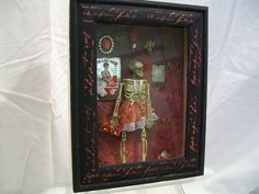 "Dia de los Muertos ""PARTYGIRL LOVES RED Shadow Box from Shadow Boxes by Kitty"