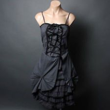 Dark Gray Victorian Petticoat Goth Steampunk. I am thinking in a tan/brown with teal accents
