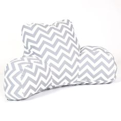 Awesome grey zig zag patterned husband pillow.  Is super comfortable and is perfect for college dorms, apartments, or anyone who likes to read in bed, play games in bed, watch t.v. in bed, or surf the internet in bed.  Free shipping. #pillows #husbandpillow #zigzag http://www.readingpillowsplus.com/products/reading-pillow-grey-zig-zag