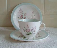 Vintage 1950s Foley China Tea Cup Saucer Plate Trio - Springtime