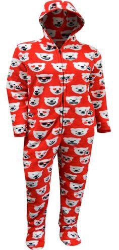 WebUndies.com Coca-Cola Coke Polar Bear Emoji One Piece Hooded Footie Pajama Lounge Pants, Lounge Wear, Bear Emoji, Coca Cola Polar Bear, Best Pajamas, Union Suit, Onesie Pajamas, One Piece Pajamas, Guys And Girls