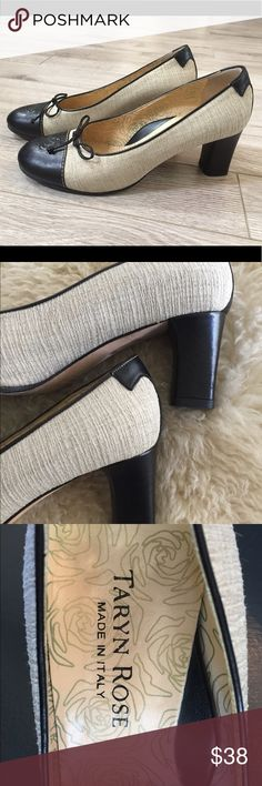 """Classic Tarryn Rose Italian Pumps These are spectacular with so many special touches! European size 39M. Poshmark says 39=9, but these are a size 8/8.5M. I wear an 8N and these have just a little room from my toe to end of shoe. Just a little too wide for me. Taryn Rose is a doctor, designer and entrepreneur, so they are built for your feet! Leather soles. Tan part looks like linen and then it's got the beautiful black leather finishes. Heel is 2 1/2"""" solid. They have been lovingly worn but…"""