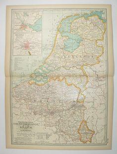 1899 Vintage Map Netherlands, Belgium Map Holland, Northern Europe Map, Old World Decor, Housewarming Gift for Couple, Historical Map available from www.OldMapsandPrints.Etsy.com #NetherlandsMap #OriginalVintageMapoftheNetherlands #1899CenturyMap #Denmark #Luxemburg #Holland