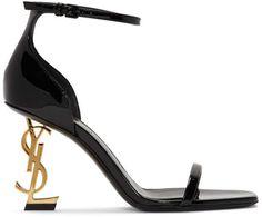 Saint Laurent Black and Gold Patent Opyum Sandals Comfy Shoes, Cute Shoes, Women's Shoes, Ysl Heels, High Heels, Little Boy Costumes, Beautiful Shoes, Ankle Strap, Fashion Shoes