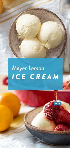 With the sweet, mellow acidity of Meyer lemons and whole eggs rather than yolks, this ice cream is as light and refreshing as a slice of lemon meringue pie. Lemon Ice Cream, Yummy Ice Cream, Homemade Ice Cream, Ice Cream Recipes, Ice Cream Pops, Ice Cream Maker, Frozen Desserts, Frozen Treats, Kreative Desserts