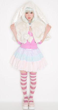 Fairy Kei, Pop Kei, Magical Girl, Pastel Fashion ♥  Japanese fashion bunny ear cape
