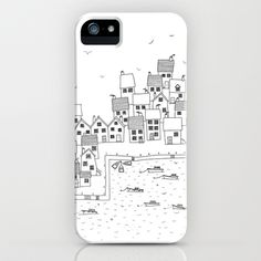 Harbour sketch iPhone & iPod Case by Squirrell - $35.00