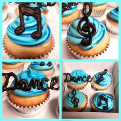 "Music, Dance themed cupcakes from ""Baked by Melanii"" page on Facebook."