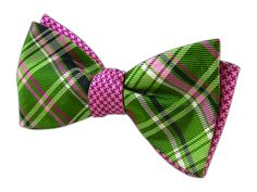 Plaiditude Tooth - Kelly/Pinks (Reversible Bow Ties)   Ties, Bow Ties, and Pocket Squares   The Tie Bar