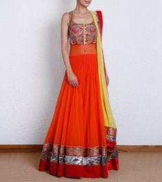Orange Floor Length Net Anarkali with Zardozi Work