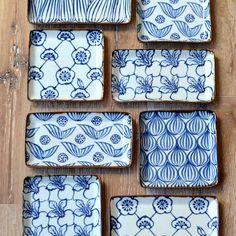 Studio KotoKoto | Rectangular Plate: Lotus Pattern (Watanabe Ai)
