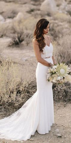 simple straps two piece boho wedding dresses