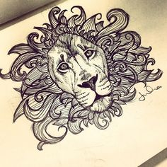 ornate lion drawing - Google Search