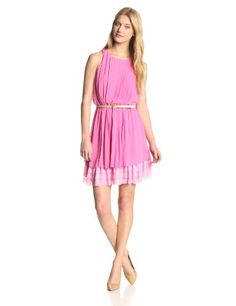 Jessica Simpson Women's Pleated Sleeveless Dress with Tiered Skirt, Super Pink/Fairy Tale, Small Jessica Simpson Online Shopping to see or buy click on Amazon here http://www.amazon.com/dp/B00HSC9O00/ref=cm_sw_r_pi_dp_QdqMtb1GSX7MR0RE