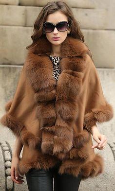 cashmere shawl with fox fur trim.champagne color.USD245