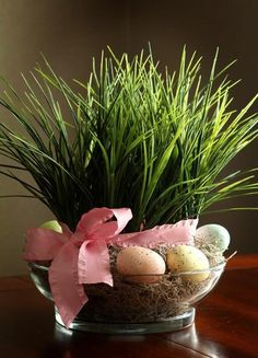 Easter Decoration Grass Pink Bow