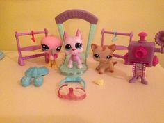 RARE PET SHOPS PINK FLAMINGO, BARN CAT, AND GREAT DANE!!!!! #Hasbro