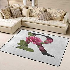 Soft Large Area Rug Letter R Kitchen Rugs and mats Capitalized R Symbol with Flower of Love Rose Nature Inspired Font Alphabet for Bedroom Living Room Pink Green White (6'6″x8′) #color Kitchen Rugs And Mats, Large Area Rugs, Love Rose, Pink And Green, Alphabet, Symbols, Lettering, Inspiration, Biblical Inspiration