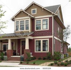 Craftsman style - distinctive widening columns; simple, squared lines, multi-paned windows.