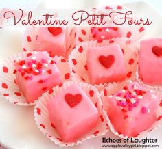 Echoes of Laughter: Valentine Petit Fours (Love Valentine decorating! Valentine Desserts, Valentines Day Desserts, Valentine Ideas, Valentine Gifts, Mini Desserts, Sweet Desserts, Cupcakes, Cupcake Cakes, Pond Cake
