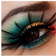 Colorful makeup ; birds of paradise