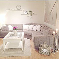 Living Room...love the floor candles!