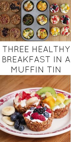 3 healthy breakfast in muffin tin Brunch Recipes, Breakfast Recipes, Breakfast Muffins, Breakfast Quesadilla, Breakfast Healthy, Breakfast Smoothies, Breakfast Casserole, Healthy Cooking, Healthy Snacks