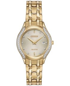 f2757e92382 Citizen Women s Eco-Drive Diamond Accent Gold-Tone Stainless Steel Bracelet  Watch 27mm GA1062-51P   Reviews - Watches - Jewelry   Watches - Macy s