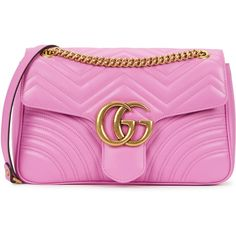 Gucci GG Marmont medium leather shoulder bag (5.705 BRL) ❤ liked on Polyvore featuring bags, handbags, shoulder bags, gucci, quilted leather handbags, pink purse, quilted shoulder bag, pink handbags and pink leather purse