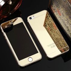 Rose Gold Front + Back Mirror Color 9H Tempered Glass Film on Cover Screen Protector Case Coque For iPhone 6 s 6s Plus 5 5S SE