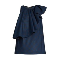 Anna October Sleeveless ruffled checked top ($450) ❤ liked on Polyvore featuring tops, navy multi, navy ruffle top, navy tops, loose tops, navy blue sleeveless top and frilly tops