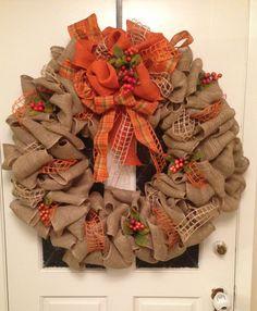 My burlap fall wreath for heart walk auction.