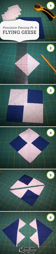 The method for piecing flying geese that is the most efficient as well as accurate begins with five squares. One large square and four small squares will give you four flying geese units. The fabric for the large square will be the center triangle of the flying geese units and the fabric for the four smaller squares will be the corners of the units…