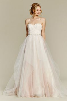 Cherry Blossom draped tulle bridal ball gown, strapless sweetheart bodice and chandelier beaded belt at natural waist, full tulle skirt with pick up detail. Blush, Fall 2015 wedding dress collection