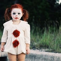 Pennywise Costume for Kids - Halloween costume - could use white WDW dress with coffee filter ring around neck