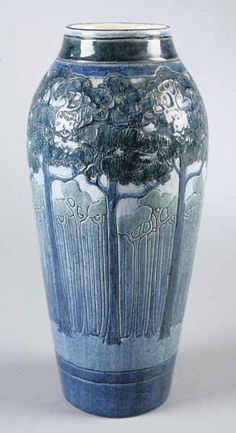 "Newcomb College Pottery Vase. Decorated by Leona Nicholson. Circa 1908. 12-3/4""."
