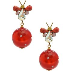Katerina Psoma Earrings ($115) ❤ liked on Polyvore featuring jewelry, earrings, red, rhinestone jewelry, rhinestone stud earrings, red earrings, red rhinestone earrings and rhinestone earrings