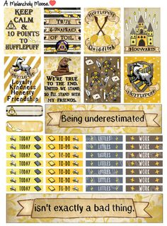House Hufflepuff Hand-Drawn Harry Potter by AMelancholyMoose Planner Stickers, Printable Stickers, Printable Cards, Printable Planner, Harry Potter Banner, Harry Potter Books, Harry Potter Bricolage, Happy Planner Accessories, Harry Potter Journal