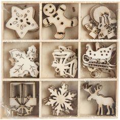 Drevené Vianočné ozdoby 45 ks