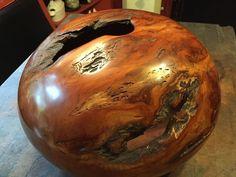 Large Turned Cherry Wood Burl Art Piece