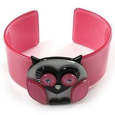 Owl Shape Pink Bracelet and Bangle for Girls