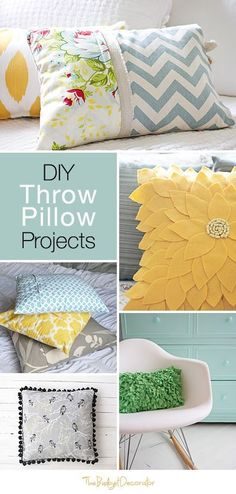 DIY #ThrowPillow Projects: Throw pillows are a fast and easy way to perk up any room, but they can be a bit pricey. Kathy at BudgetDecorator.com ( @tbd ) shares some affordable DIY throw pillow ideas and tutorials — sew & no-sew — that rival designer pillows. (Wait till you see the felt sunflower throw pillow!) #diyproject #throwpillows #diydecor #homedecor #diyhomedecor  #style #budgetdecor