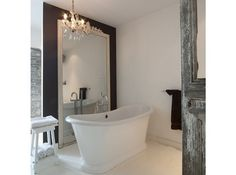 My French Country Home, French Living - Sharon Santoni Bathroom Chandelier, Gold Bathroom, Bathroom Spa, Small Bathroom, Bathroom Ideas, Black Chandelier, My French Country Home, Modern Country, Country Living