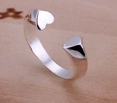 925 Sterling Silver Half Open Heart Ring