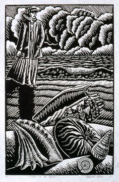 """Woman on the Beach"", 1995, linocut by Deborah Klein http://www.deborahklein.net/ Tags: Linocut, Cut, Print, Linoleum, Lino, Carving, Block, Woodcut, Helen Elstone, Australian, Female, Woman, Face, Shells, Beach, Sand, Sea, Clouds, Sky."