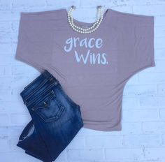 Grace Wins, Womens Dolman Tshirt,  Relaxed and flowy fit. Super soft and luxurious feeling. Drapes perfectly. by TheClassyCoop on Etsy