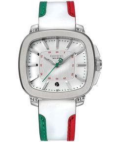 Breil Milano Men's Red, Green and White Leather Strap Watch 45mm TW1313